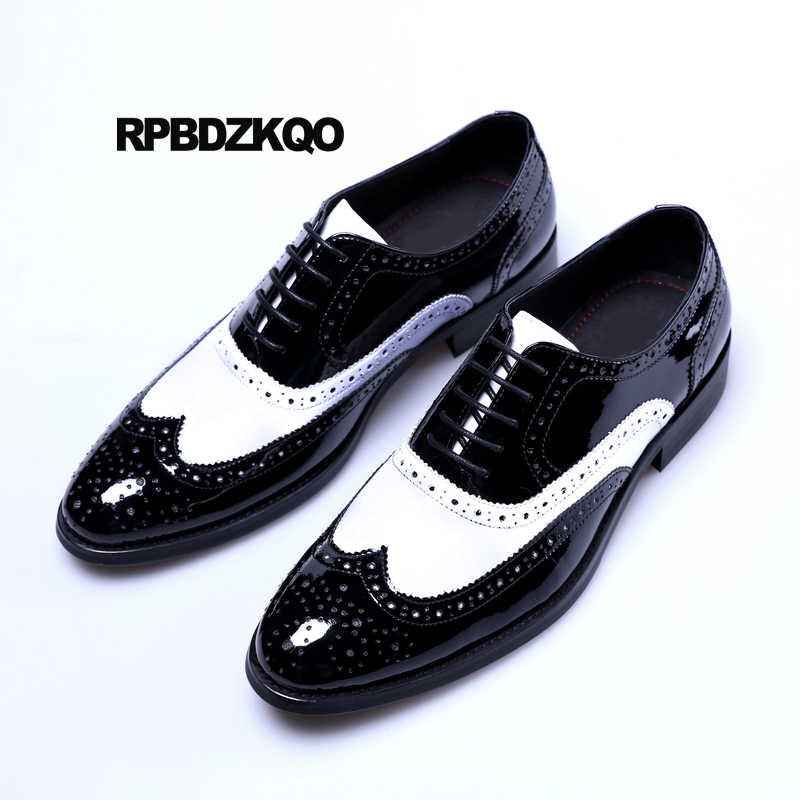 Mens British oxford brogue pointy toe lace up wing tip casual dress formal shoes