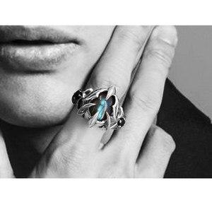 Image 5 - Lengkea مجوهرات الرجال خواتم 925 الاسترليني الفضة خواتم شخصية الإبداعية اللابرادوريت حجر كبير حجم افتتاح حلقة النساء مجوهرات