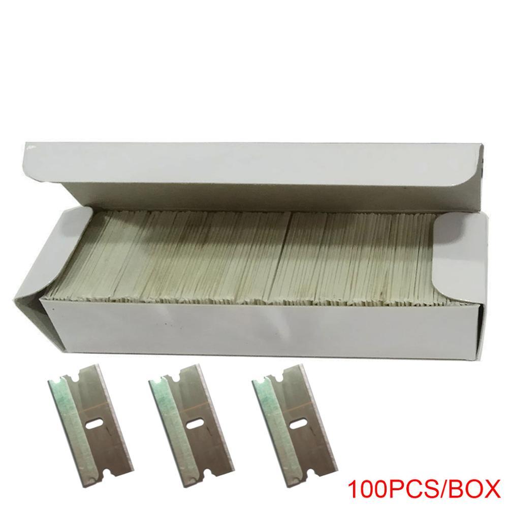 Купить с кэшбэком Automobile Window Tint Tool Plastic Retractable Razor Scraper with 100pcs Extra 1.5 inch Carbon Steel Blade glue remove E16+E13