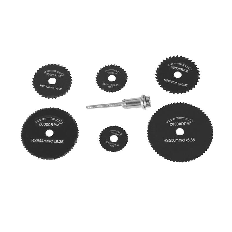 7pcs HSS Black Saw Blades Cutting Cut Off Disc Wheels Set 6 Sizes For Dremel 4000 3000 Rotary Tools