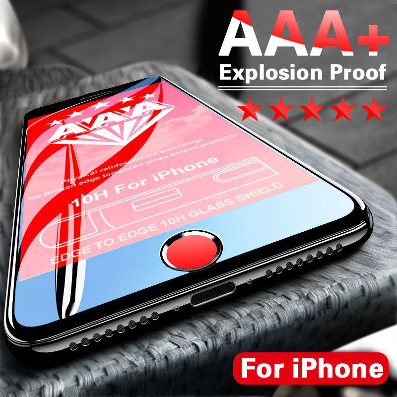 AAA+ Full Cover Curved Protective glass on For iPhone 7 8 6 6s Plus Screen Protector iPhone 11 Pro X Xr Xs Max Tempered Glass image