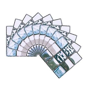 10*10cm Mosaic Self Adhesive Tile Wall Stickers Vinyl Bathroom Kitchen Home Decoration DIY PVC Stickers Decals Wallpaper 10pcs 7