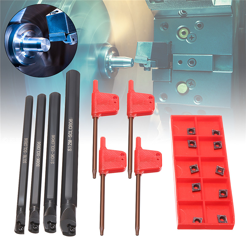 4 Set Of 7/8/10/12mm SCLCR Lathe Boring Bar Tool Holder +10pcs CCMT 0602 Inserts Machine Tool Turning Tool Holder Set
