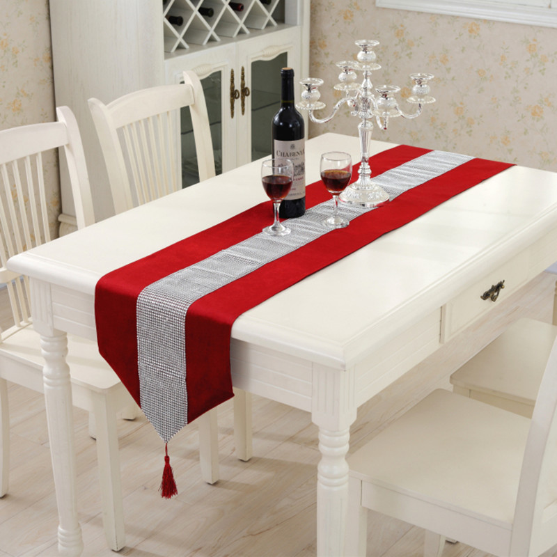 Modern Table Runner Ironing Diamond 2 Layers Runner Luxury Flannel Sequin Table Runner Wedding Party Banquet Decoration