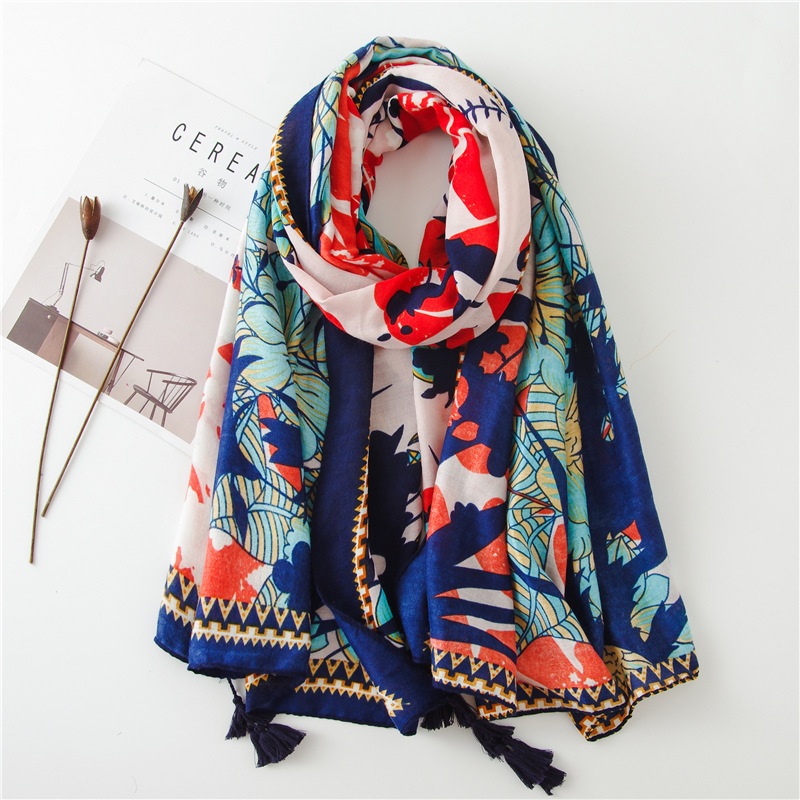 Luxury Brand Fashion Autumn And Winter New Style Cotton Scarf Women's Cotton Material Silk Scarves Lady Sunscreen Print Shawl