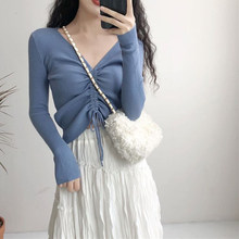 Sexy V Neck Lace Up Knitted Sweaters Women Autumn Ribbed Long Sleeve Solid Navel Bare Crop Tops Autumn Knitwear Jumper Tops(China)
