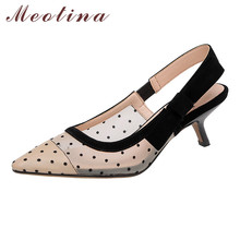 Meotina Shoes Women Kid Suede High Heel Sandals Bow Pointed Toe Thin Heels Cutouts Female Summer Black Apricot Size 40
