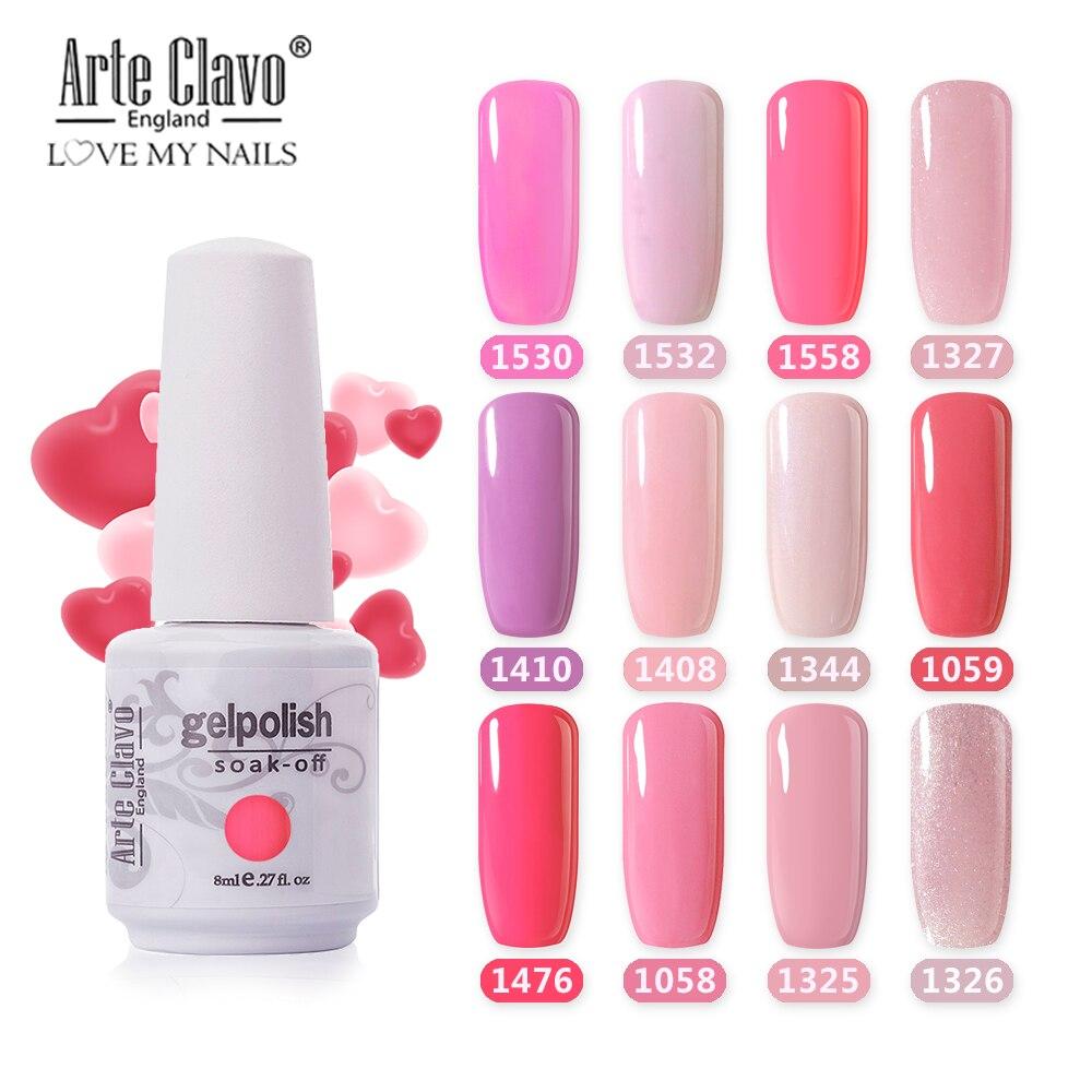 Arte Clavo 85 Color LED UV Gel Nail Polish Salon 8ml Nail Color Top Coat Nail Art Gel Varnish Hybrid Soak Off Gelpolish Manicure
