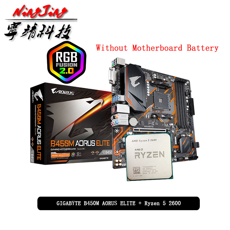 AMD Ryzen 5 2600 R5 2600 CPU + GA B450M AORUS ELITE Motherboard Suit Socket AM4 All new but without cooler|Motherboards| - AliExpress