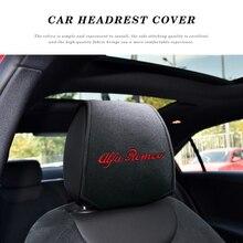 1/2PCS Car Headrest Cover Car Logo Pillow Protector Case For Italy Alfa Romeo Giulia Giulietta 159 156 Car Decoration Styling