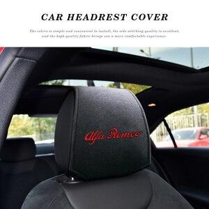 Image 1 - 1/2PCS רכב משענת ראש כיסוי רכב לוגו כרית מגן מקרה עבור איטליה אלפא רומיאו Giulia ג ולייטה 159 156 קישוט רכב סטיילינג