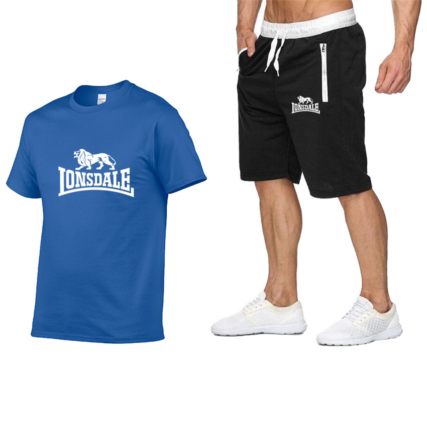 2020 Summer Men Hot New Print T-shirt + Shorts Casual Suit Men Sports Lonsdale Running Explosions Casual Sportswear Sets
