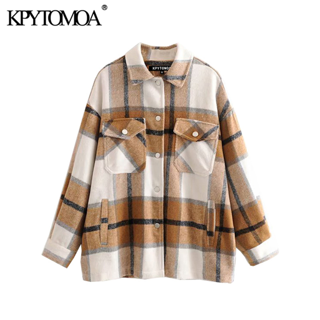 Vintage Stylish Plaid Jacket Coat Lapel Collar Long Sleeve Loose Outerwear Chic Tops 2