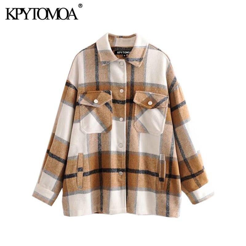 Винтажная стильная куртка с карманами оверсайз, клетчатое пальто для женщин 2020, модная Свободная верхняя одежда с отложным воротником и дли...