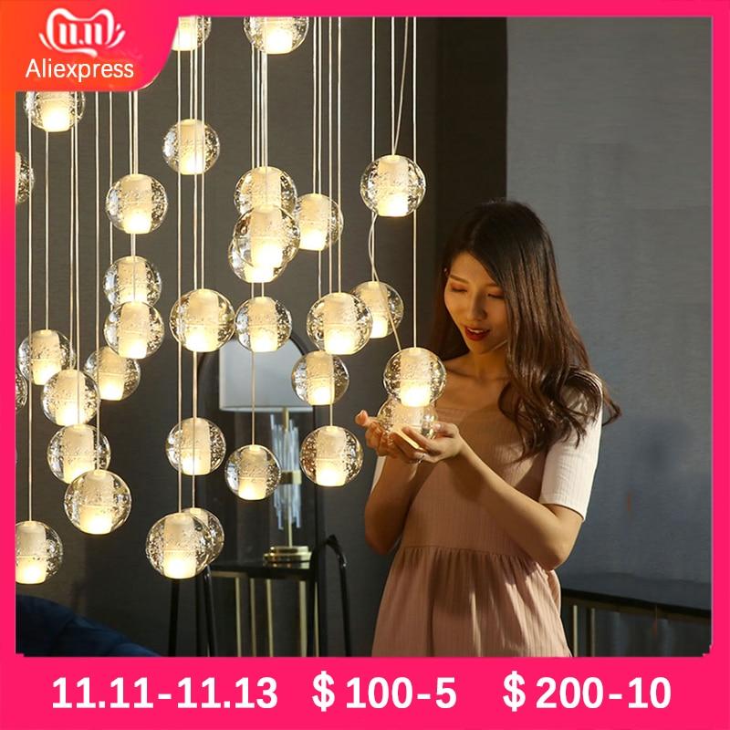Modoren Crystal Glass Ball Pendant Lights Nordic Hotel Hall Living Room Hanglamp Art Lustres Kitchen Led Luxury Pendant Lamp