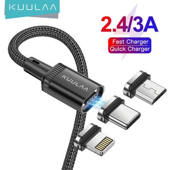 KUULAA 3A kabel magnetyczny USB ładowanie Micro typ c dla Iphone 11 Pro ładowarka kabel ładujący przewód akcesoria do telefonów komórkowych tanie i dobre opinie NONE LIGHTNING TYPE-C Micro Usb CN (pochodzenie) USB A Magnetyczne Ze wskaźnikiem LED