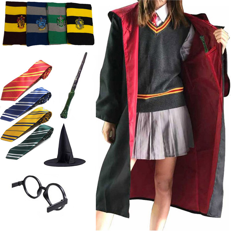 Magic Cloak Potter Cosplay Costume Robe Cape Gryffindor Slytherin Ravenclaw Hufflepuff Hermione Granger