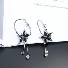 Korean Temperament Black Beads Tassel Earring Simple Flower Earrings Sweet Wild Dangle Female