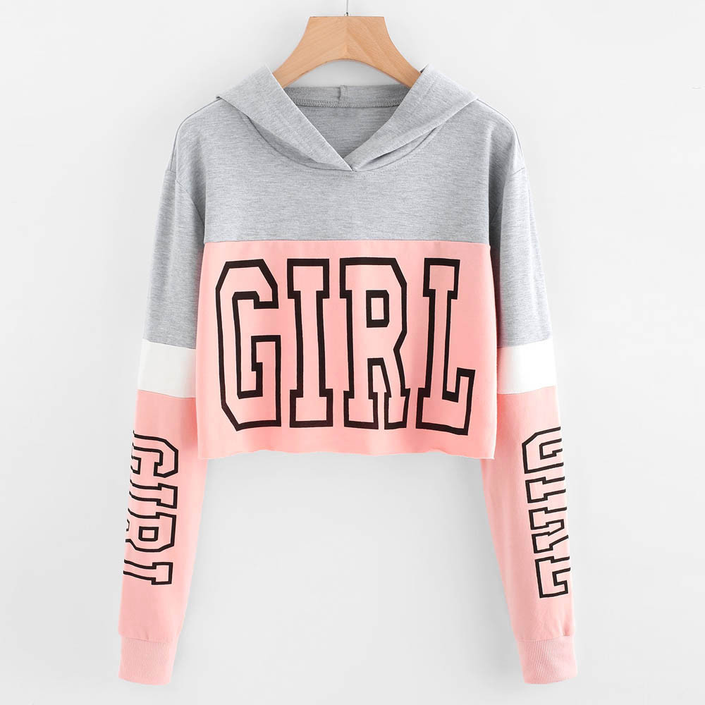 Sweatshirt Women Autumn Casual Short Printing Long Sleeve Hoodie Hooded Pullover Female Streetwear Tops Blouse Sweatshirt #45
