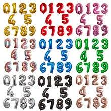16 32 40 дюймов розовое цвета: золотистый, серебристый воздушные шары из фольги в виде цифр День рождения Декор воздушные гелиевые номер Globos Де...