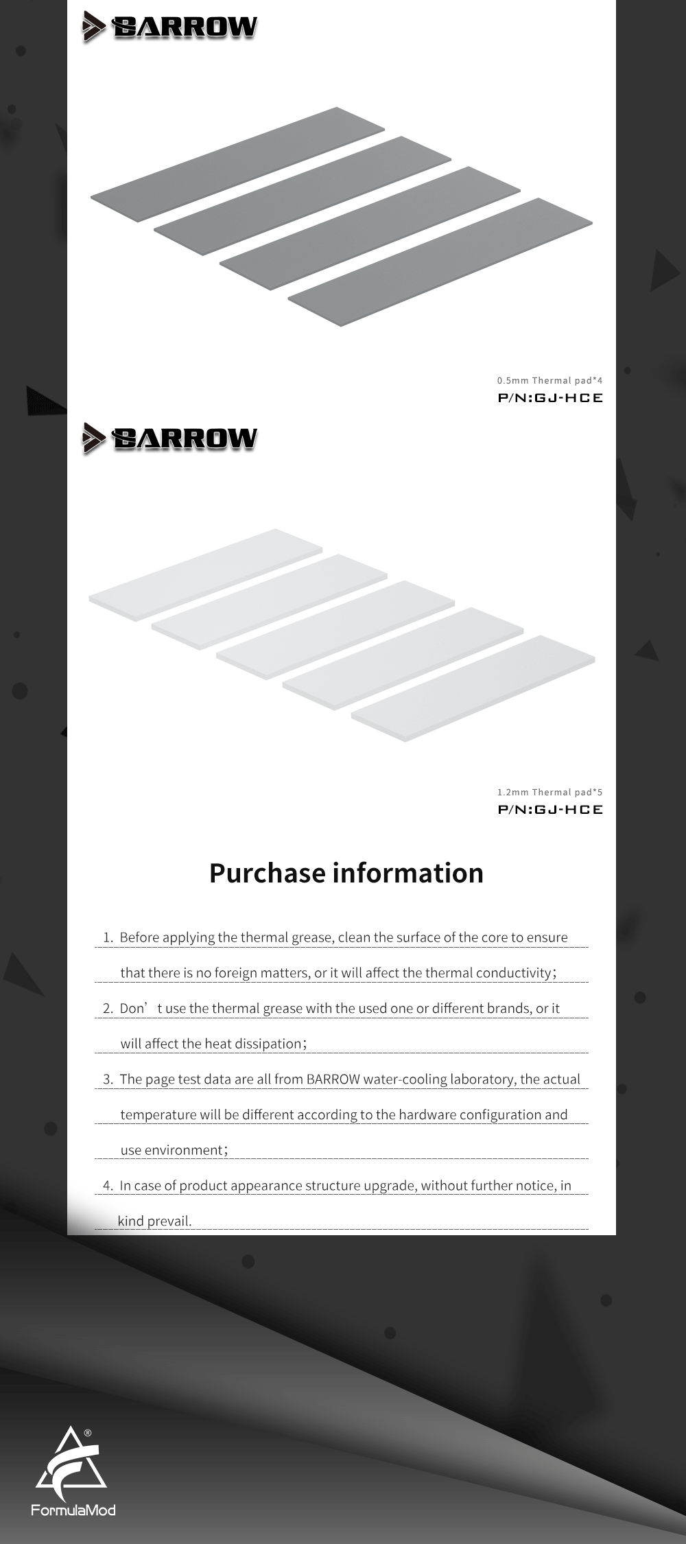 BARROW Silicon Grease Thermal Pad Kit For GPU Water Cooling Block Heat Dissipation, High Performance Conductive Heatsink, GJ-HCE