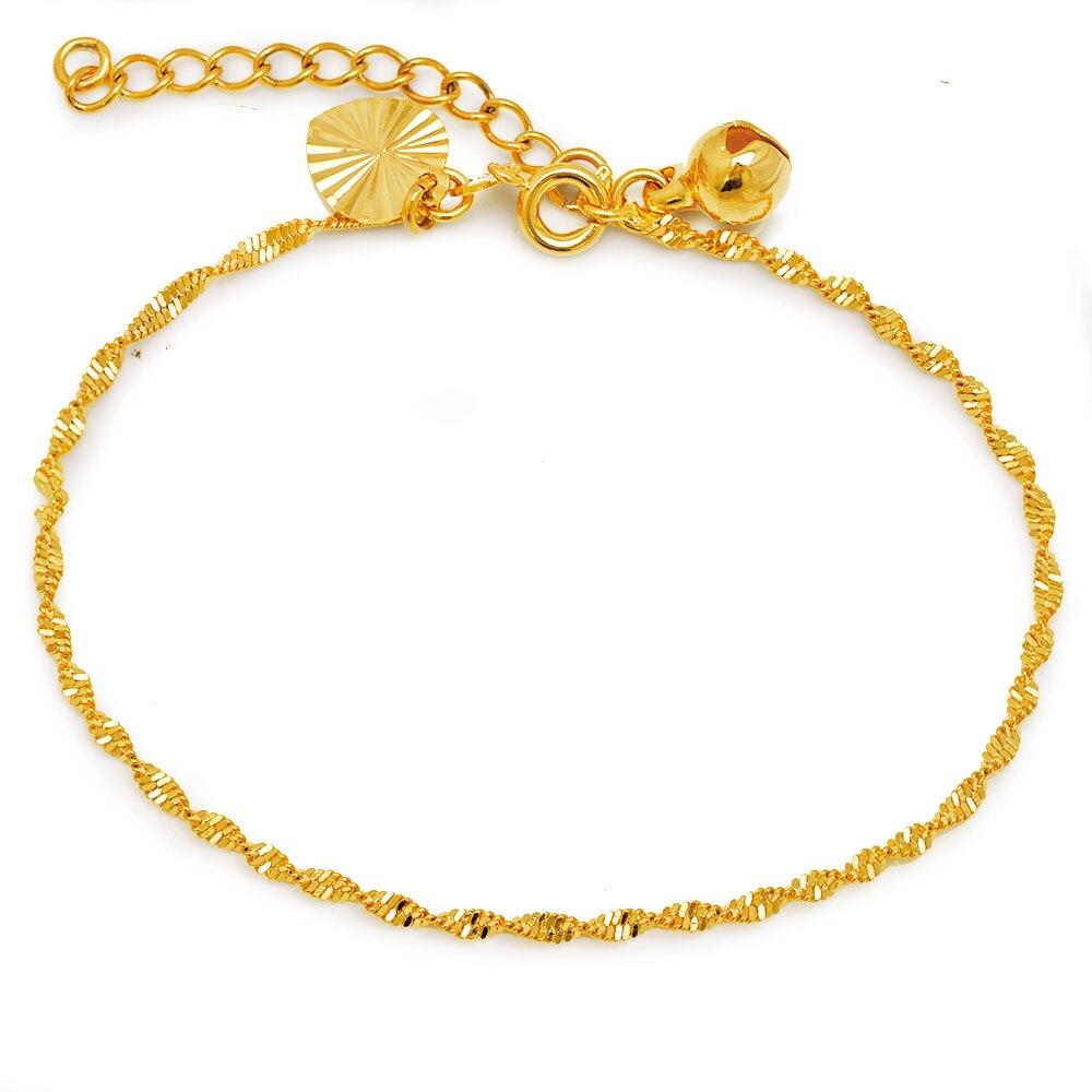 MxGxFam ( 17 см + 3 см) Черная пятница Прекрасная волна цепь браслет ювелирные изделия для женщин 24 k чистый золотой цвет гипоаллергенный