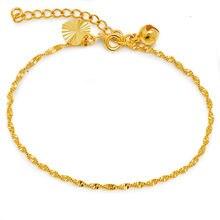 Mxgxfam (17 cm + 3 cm) black friday adorável onda corrente pulseira jóias para mulher 24 k cor ouro puro alergia livre