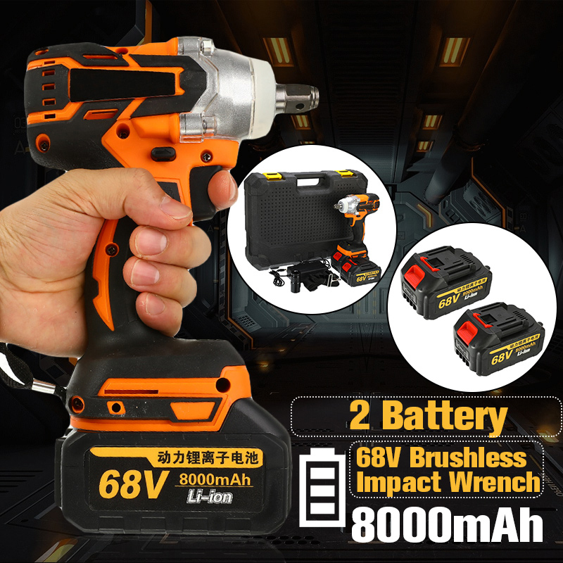 68V 8000mAh 520N.m Cordless Lithium-Ion Electric Impact Wrench Brushless Motor 2 Battery With Charge Power Tools