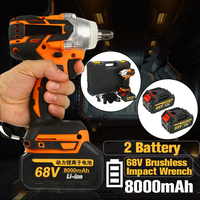68V 8000mAh 520N.m Cordless Lithium Ion Electric Impact Wrench Brushless Motor 2 Battery With Charge Power Tools