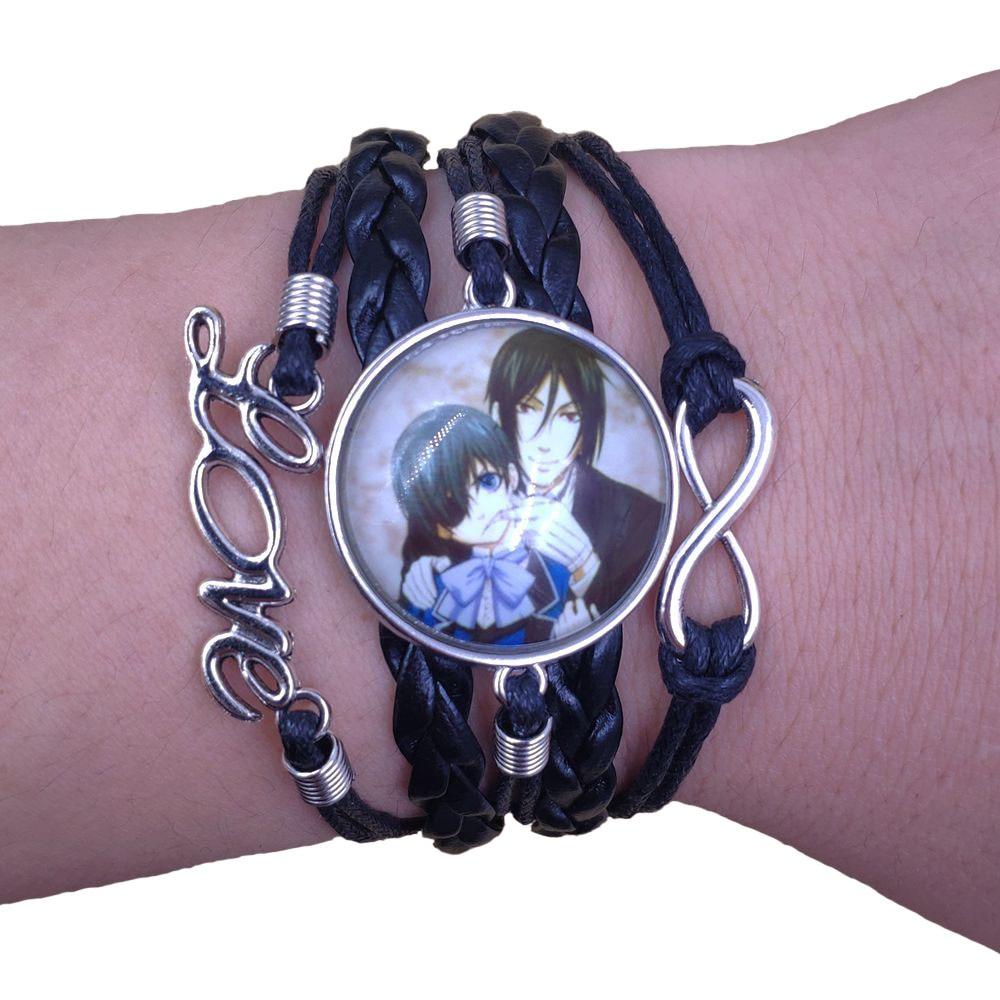 18 Styles Multilayer Infinity Anime Leather Bracelet Black Butler Sebastian Love Time gem Handmade Retro Drop Shipping HZS
