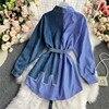 Women's Blouse 2020 Autumn Long Sleeve Shirt Tops Jeans Patchwork Plaid Blouses Elegantes Blusas para mujer Slim Shirt Dress 5