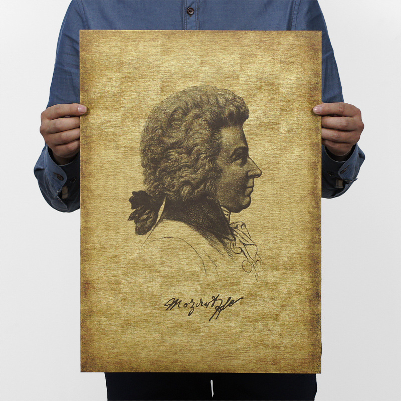 Musician Mozart Vintage Kraft Paper Classic Movie Poster Home Decor Garage Wall Decor Art  Retro School Prints