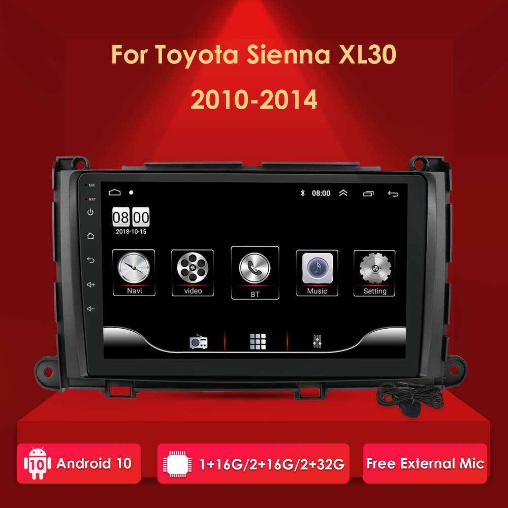 """Android 10 2G+32G Car Gps Player for Toyota Sienna 2010 2011 2012 2013 2014 Stereo Radio 2 Din Head Unit 9"""" Media Navigation"""