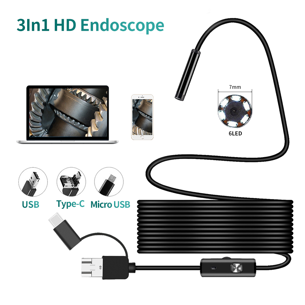 10 M Type-c Android USB Endoscope Camera 7 Mm Soft Cable PC Android Phone Endoscope Pipe Type-C Endoscope Inspection Mini Camera