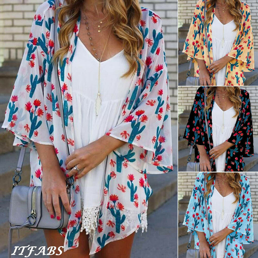 4 Colors  Women Floral Loose Shawl Vintage Kimono Cardigan Chiffon Coat Jacket Blouse Autumn Floral All-matching Brief Top