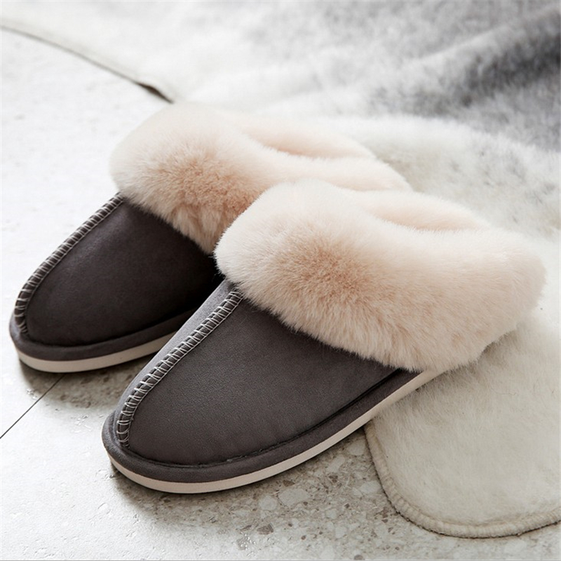 JIANBUDAN Indoor plush comfortable soft slippers Men and women winter warm home shoes Flat suede plush Female Cotton shoes 2