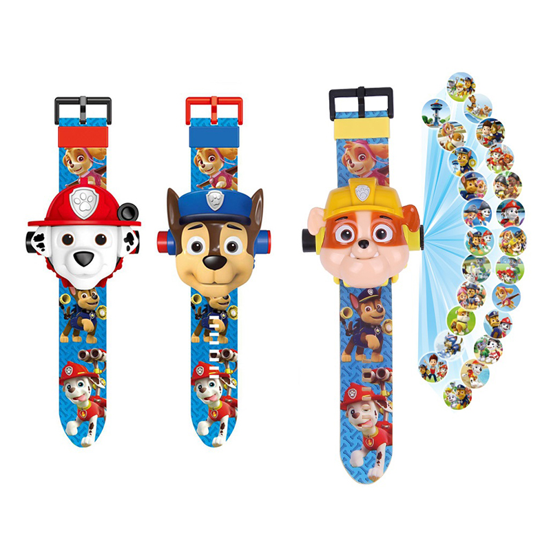 Paw Patrol Cartoon Projection Watch 24 Cartoon Patterns Projection Action Figure Paw Patrol Time Display Real Watch For Children