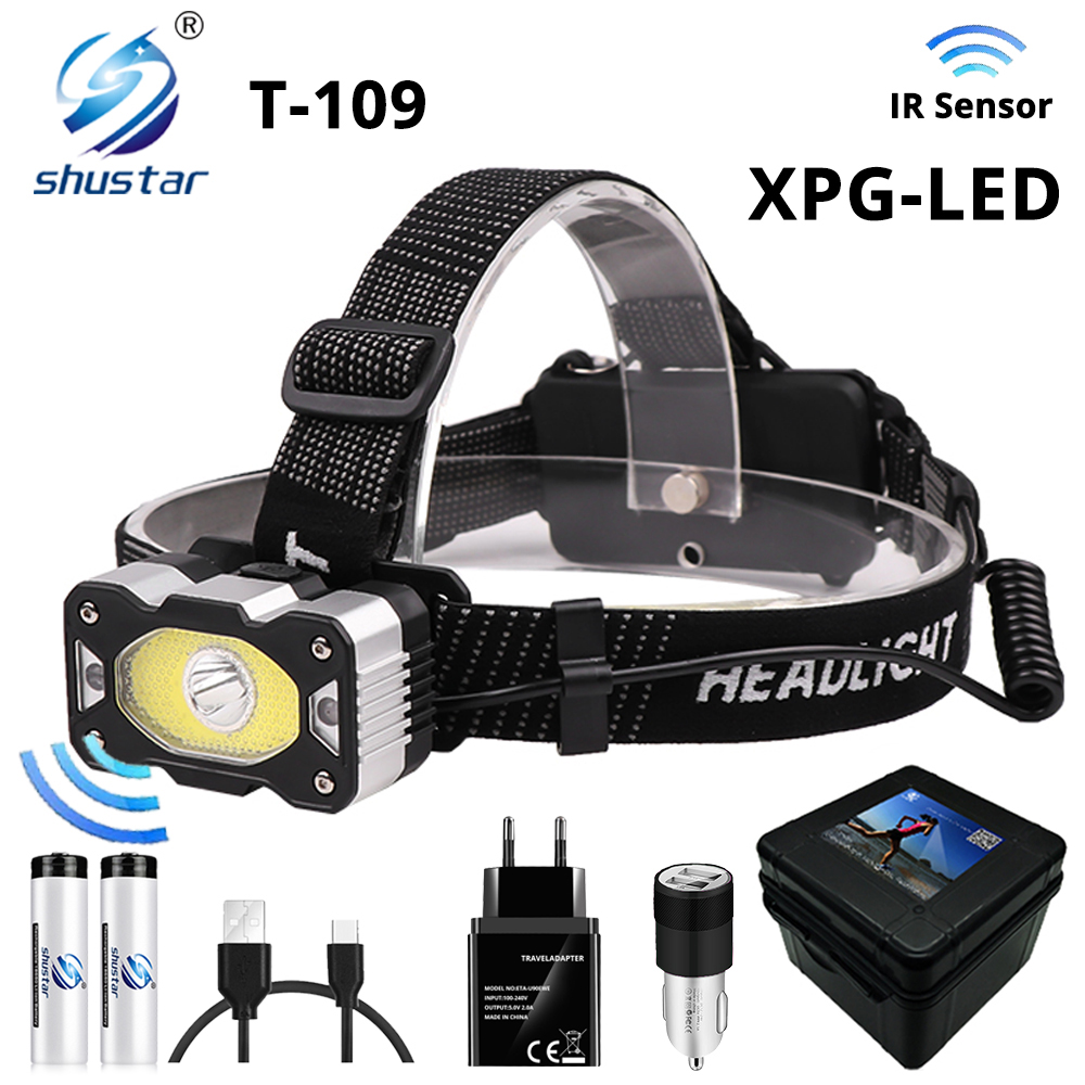 IR Sensor LED Headlamp With XPG+COB Super Bright Fishing Headlight 4 Lighting Modes Waterproof Camping Powered By 18650 Battery