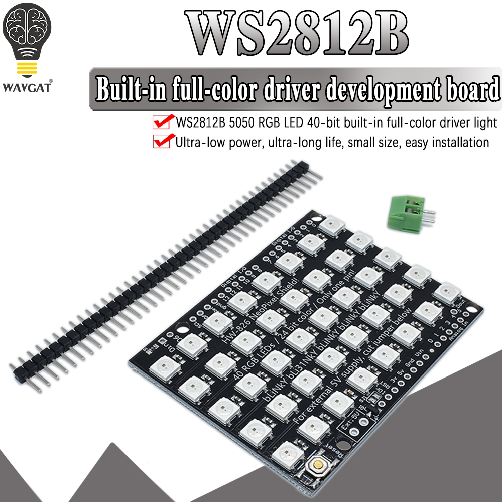 WS2812B 40 RGB LED WS2812 5X8 Pixel Dot Matrix Shield Addressable LED Module Board for Arduino UNO R3