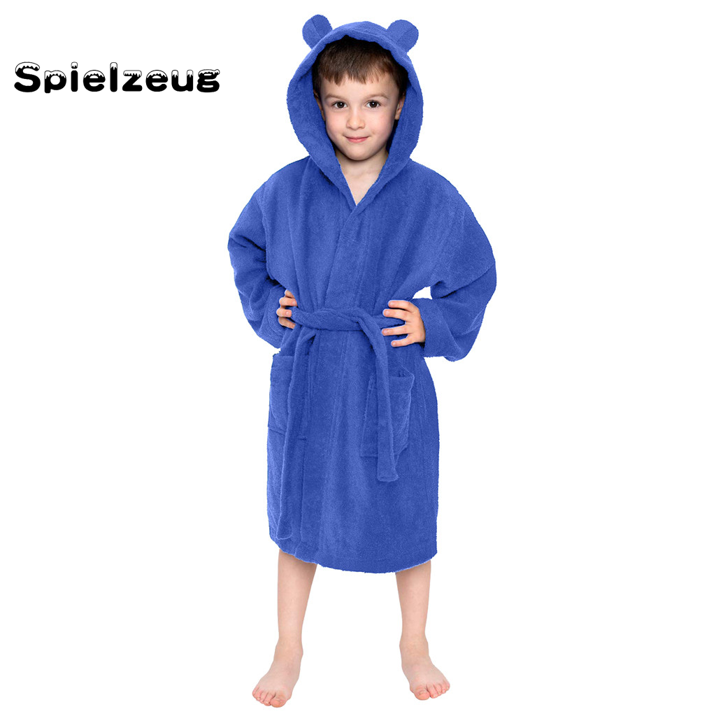 Bath-Robes Pyjamas Belt-Towel Sleepwear Night-Gown Hooded Flannel Toddler Girls Kids title=