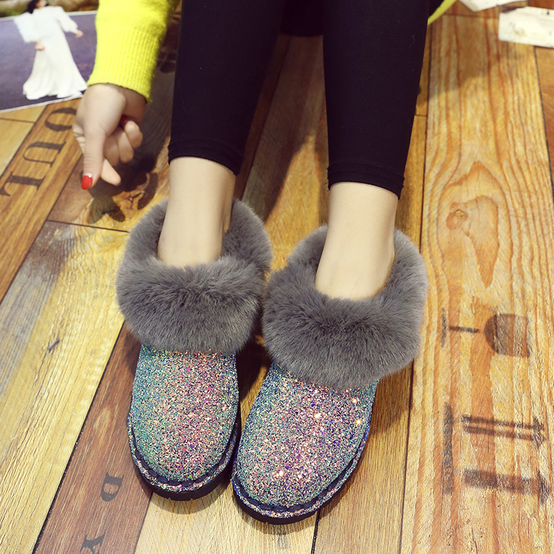 2019 New Winter Women Sequins Snow Boots Fashion Thicken Plush Shiny Cotton Shoes Thick Bottom Non-slip Warm Ankle Boots 36-41 16