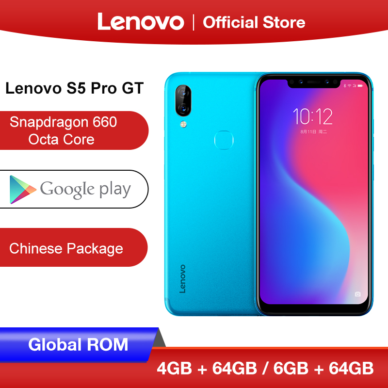 Global ROM Lenovo S5 Pro GT 4GB 6GB 128GB  Snapdragon 660 Octa Core Smartphone 20MP Quad Cameras 6.2 Inch Octa Core 4G LTE Phone