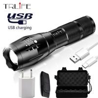 USB Фонарик светодиодный перезаряжаемый фонарь X900 power Bank выход факел Тактический, регулируемый водонепроницаемый шок походный фонарик