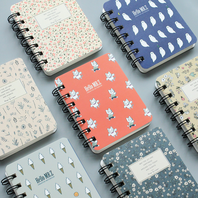 8*10.6cm Korean Creative Small Fresh Floral Notebook A7 Cute Pocket Coil Portable Notebook School Office Stationery 80 Sheets