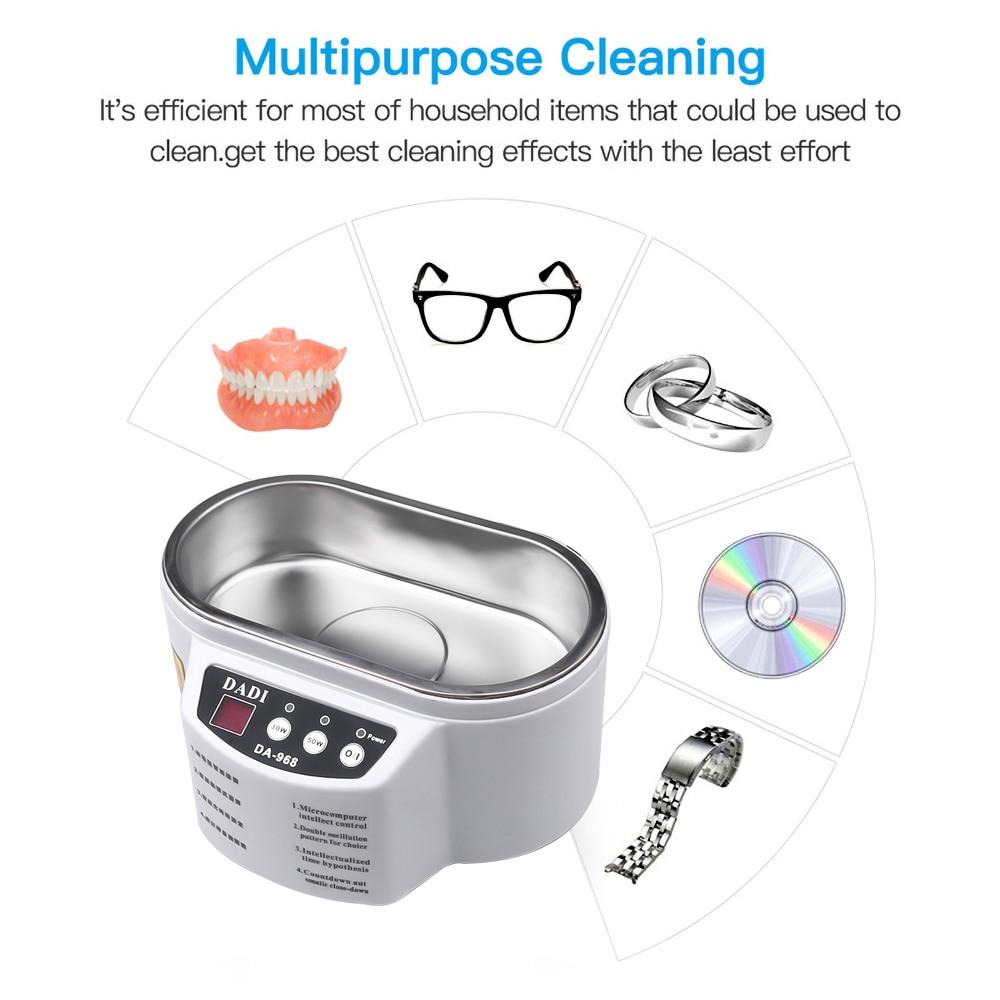 Mini Ultrasonic Cleaner 600ml Intelligent Control Sonic Cleaner Bath Jewelry Glasses Circuit Board Cleaning Machine Tools