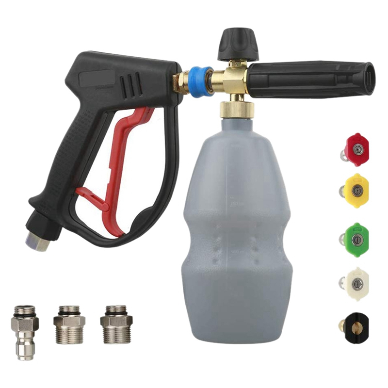 High Pressure Washer Spray Gun  Snow Foam Cannon Foam Cannon Lance Kit with G1/4 Qucik Connector Nozzle Tips Inlet Adapters G3/8|Watering Kits| |  - title=