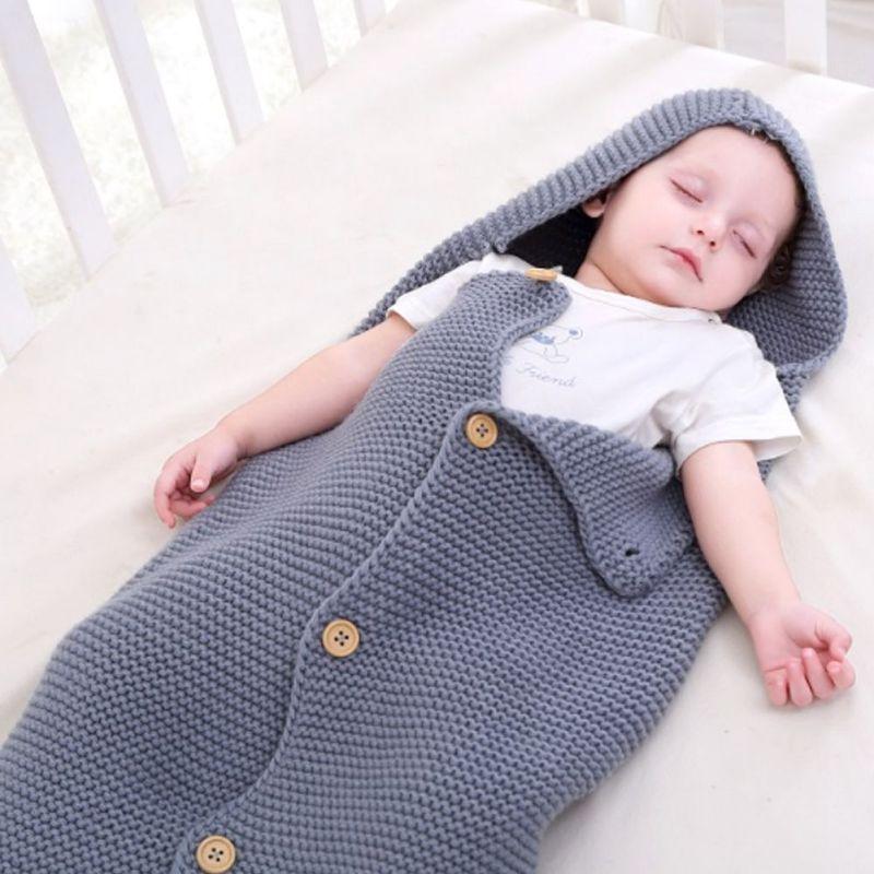 2019 Warm Baby Blanket Soft Baby Sleeping Bag Footmuff Cotton Knitting Envelope Newborn Thicken Design Newborn Bedding Wrap