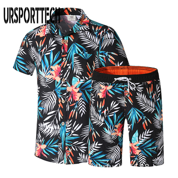 цена на Tracksuit Men Casual Summer Men's Set Mens Floral Hawaii Shirt + Print Beach Shorts Shirts Shorts Pants Two Piece Suit Plus Size