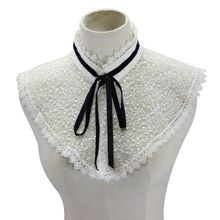 Womens Embroidery Star Floral Lace Fake Collar Stand-Up Detachable Half Shirt