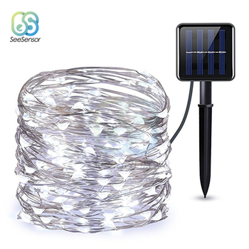 LED Outdoor Solar Lamp String Light Fairy Holiday Christmas Lights 12m 100LED Copper Wire Wedding Party Decor Lamp Garland led string lights 100m 800leds holiday light outdoor decor lamp for party wedding garden christmas fairy
